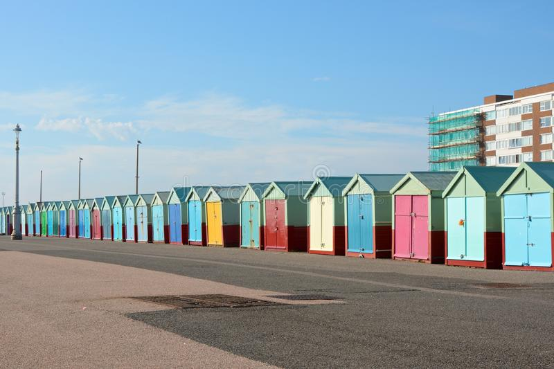Beach Huts at Hove, Brighton, England. Colourful beach huts on the promenade at Hove in Brighton, East Sussex, England royalty free stock photo