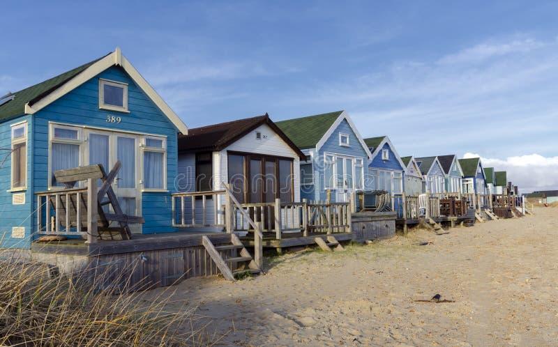 Beach Huts at Mudeford Spit stock photos
