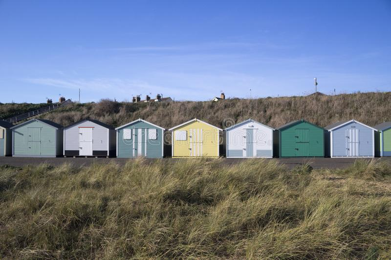 Beach Huts at Pakefield, Suffolk, England stock images