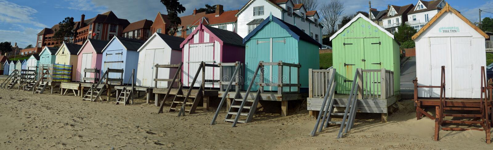 Beach huts panorama Felixstowe seafront stock images