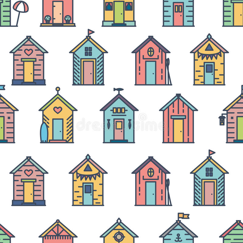 Beach huts pattern, colored, flat style stock illustration