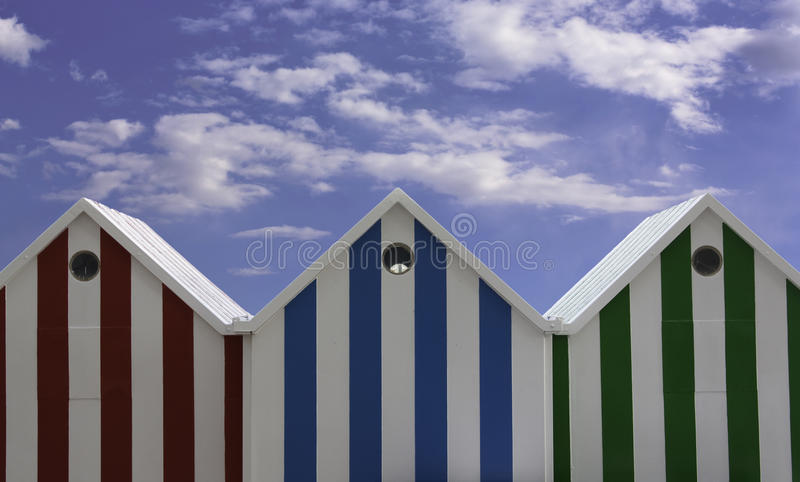 Beach huts roof royalty free stock photo
