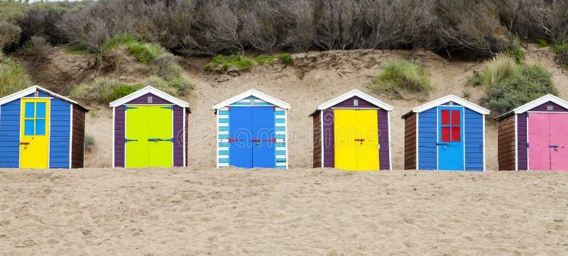 Beach huts on Saunton beach, UK stock images