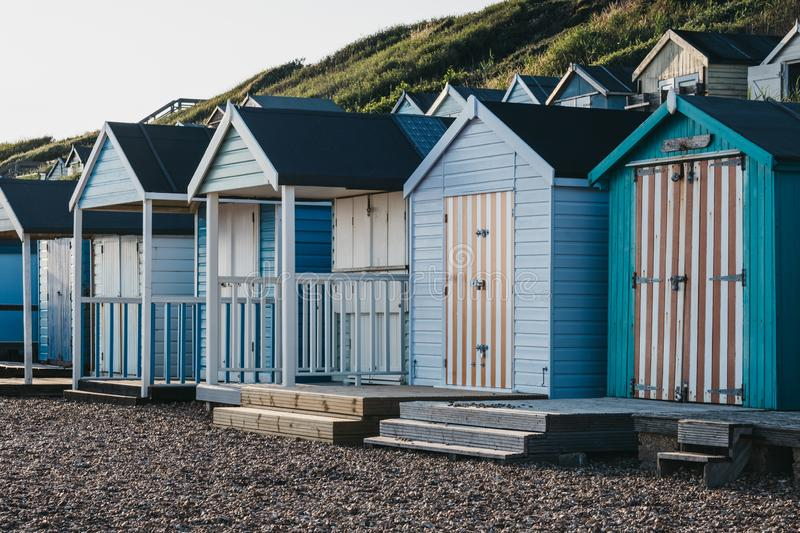 Beach huts by the sea, holiday and travel concept royalty free stock photo