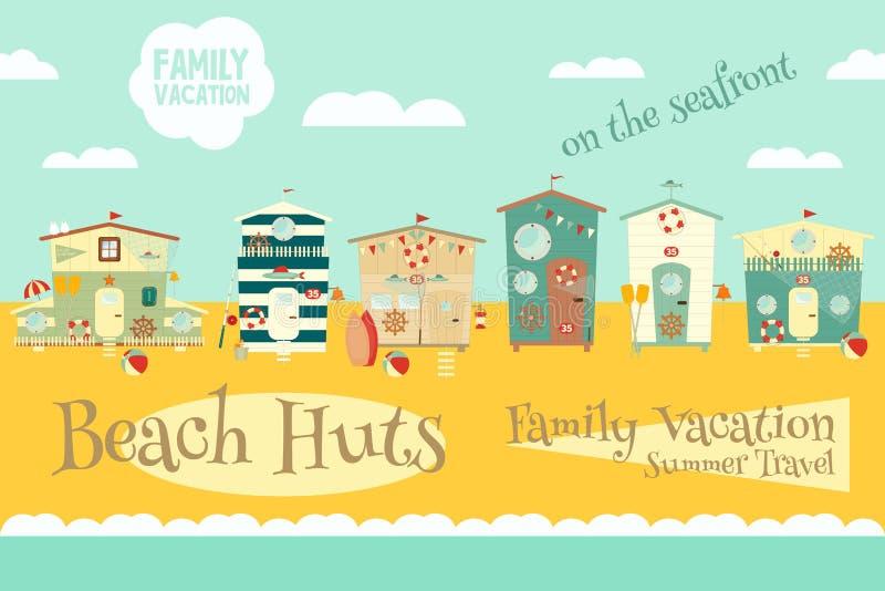 Beach Huts stock illustration