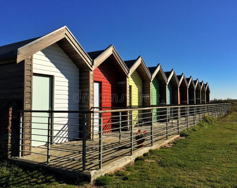 Beach huts vacation in Northumberland. Council run chalets in Blyth stock photos