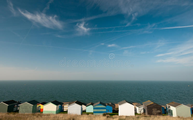 Beach huts , Whitstable. Colorfull Beach huts , at Whitstable, Kent SouthEast England stock image