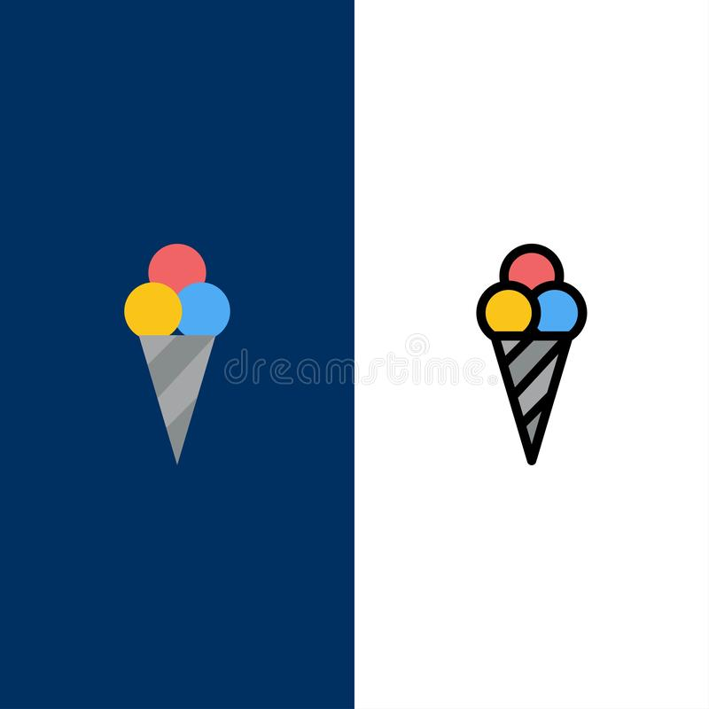 Beach, Ice Cream, Cone  Icons. Flat and Line Filled Icon Set Vector Blue Background stock illustration