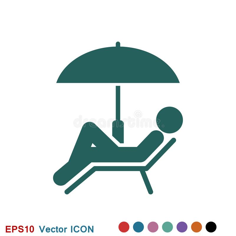 Beach icon vector of vacation and tourism, summer symbol. Beach icon, summer signs: vector icon of vacation and tourism stock illustration
