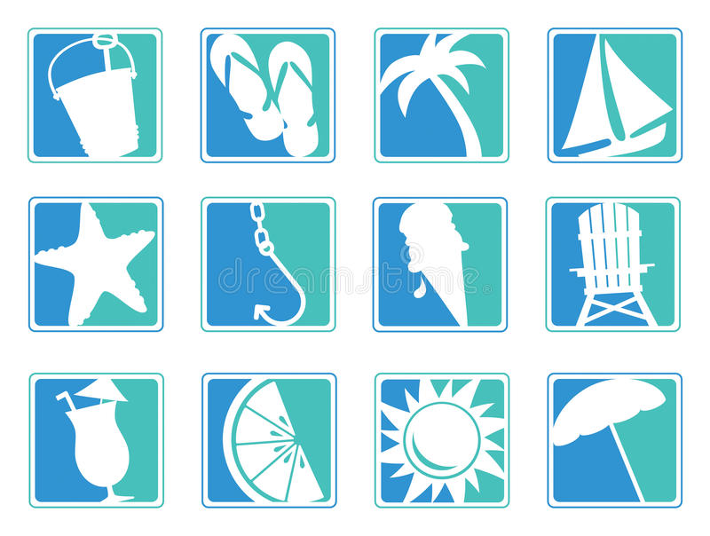 Beach icons. Set of 12 beach/summer icons