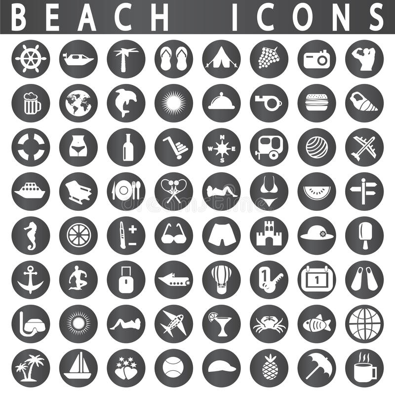 Free Beach Icons Stock Images - 46873284
