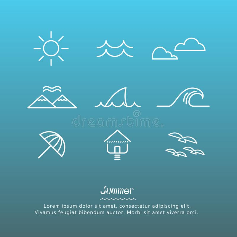Beach icons design set. Beach icons outline design set vector royalty free illustration