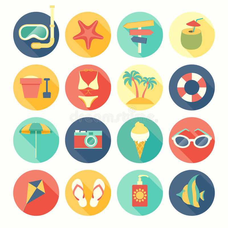 Beach icons set. royalty free illustration