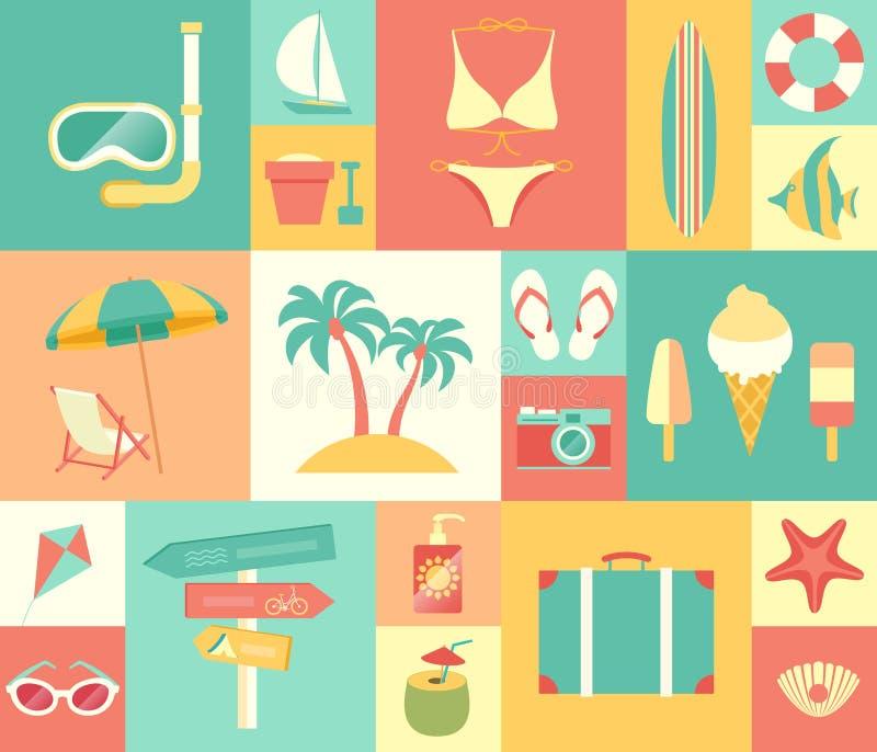 Beach icons set. stock illustration