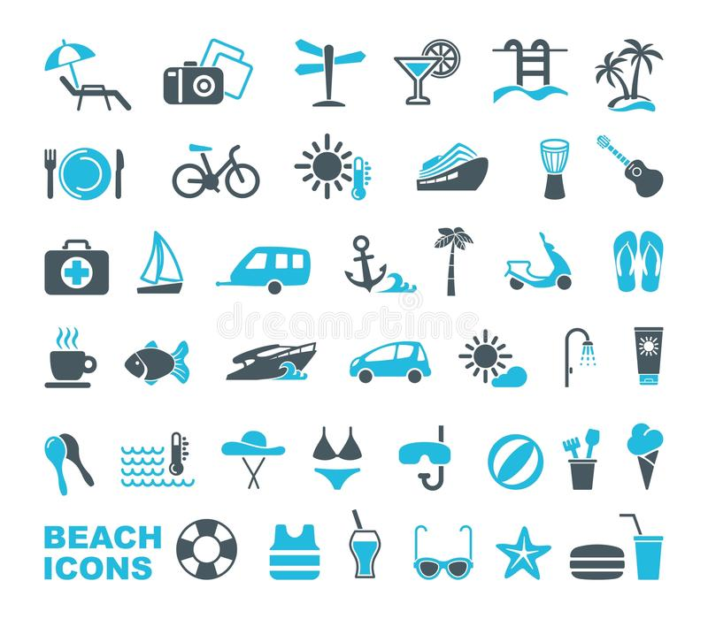 Beach icons. Vector illustration. Set of icons on a theme of beach rest royalty free illustration