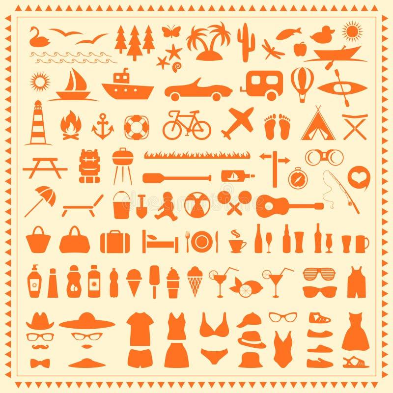 Beach icons, royalty free illustration