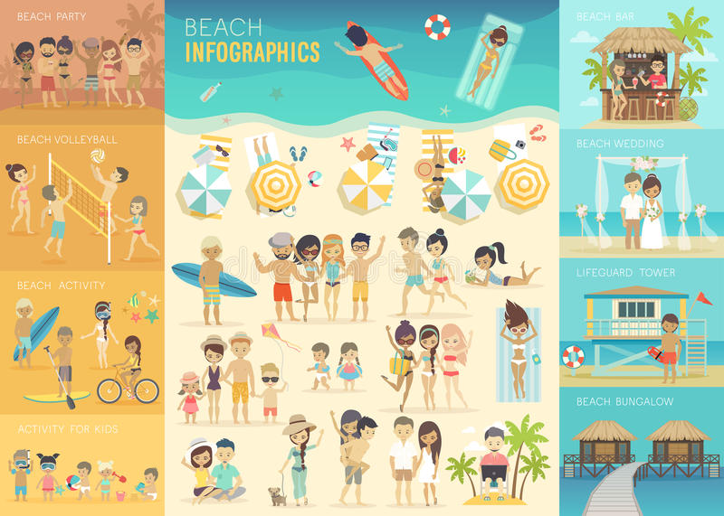 Beach Infographic set with charts and other elements. stock illustration