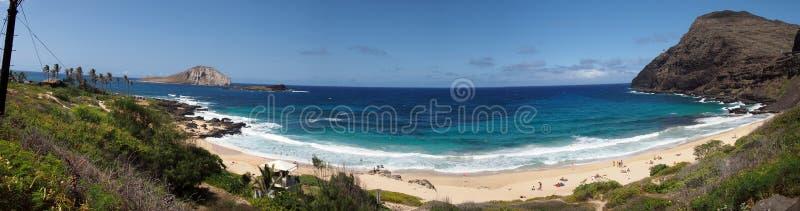 Beach and islands at Makapuu Beach Park stock images
