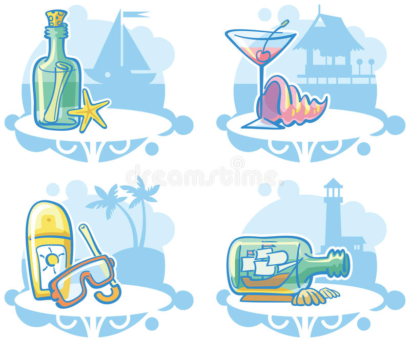 Download Beach items stock vector. Illustration of martini, message - 14152724
