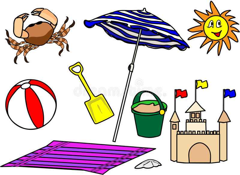 Beach-items royalty free illustration