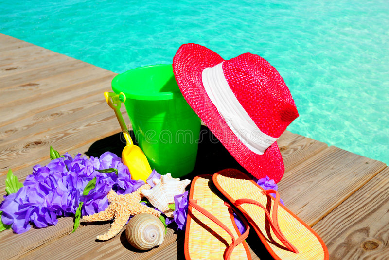 Beach Items by Pool royalty free stock images