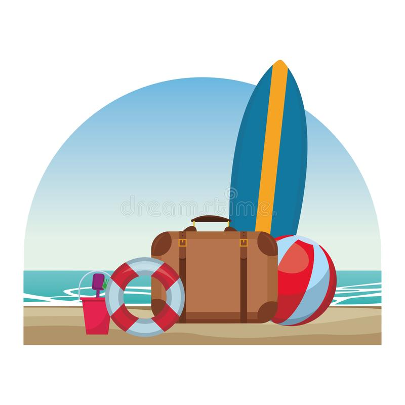 Beach items seascape. Surfboard suitcase beach ball buoy toys colorful vector illustration graphic design stock illustration