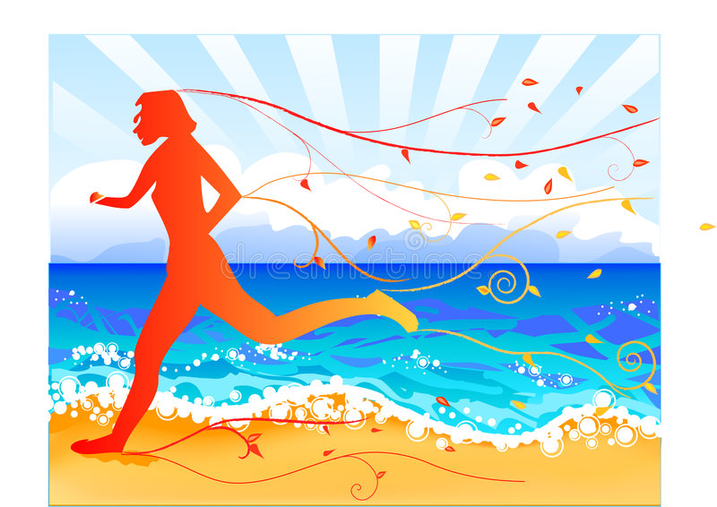 Beach jogger in fall. Illustration of jogger on beach in the fall, with sea sky and clouds background vector illustration