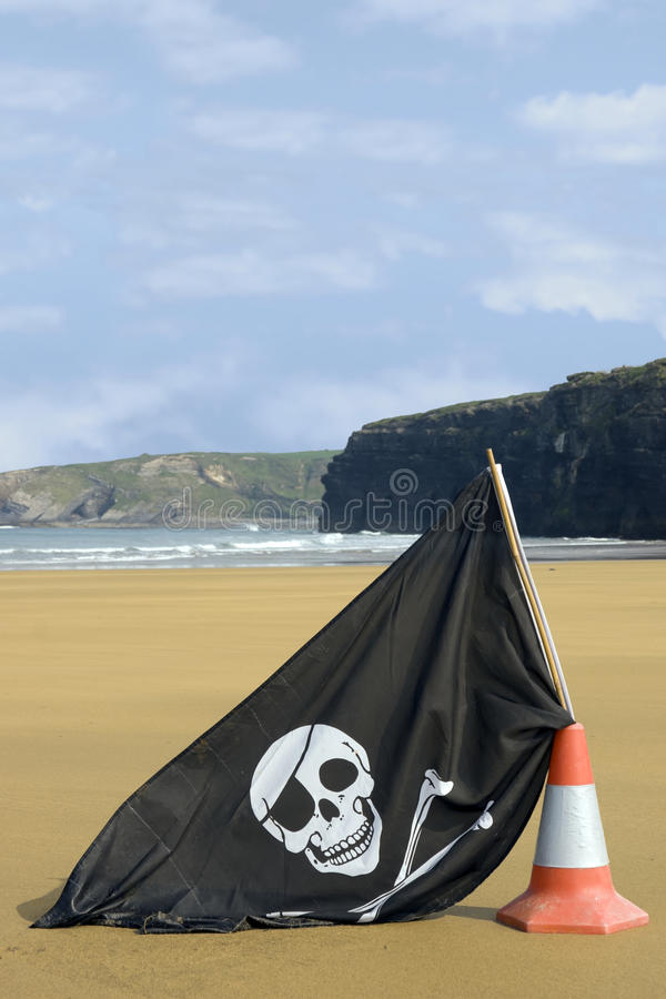 Download Beach With Jolly Roger Flag Stock Image - Image: 23811037