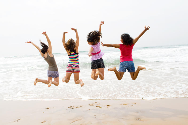 Download Beach jump stock photo. Image of friendship, four, happy - 10972442
