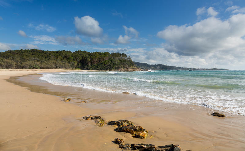 Beach just north of Coffs Harbour Australia. Small deserted beach north of Coffs Harbour in New South Wales Australia royalty free stock images