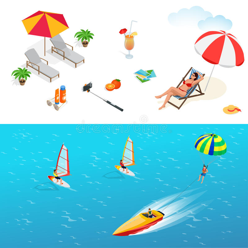 beach każdego ikona warstwa wyznaczonym oddzielającego wektora Dziewczyna w swimsuit na pokładu krześle ilustracji