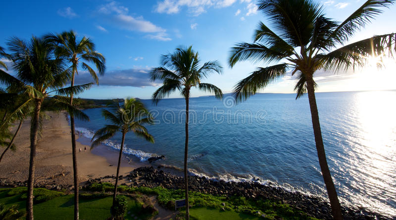 Beach at Kamaole Beach park II in Kihei Maui royalty free stock images