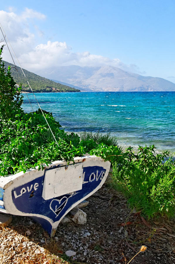 Boat on Kefalonia Beach stock photos