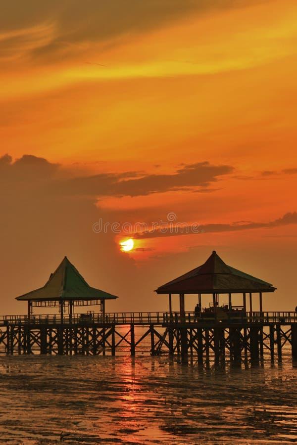 Beach Kenjeran surabaya. Sunrise sun gazebo royalty free stock photography