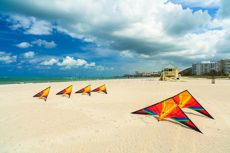 Beach kites royalty free stock images