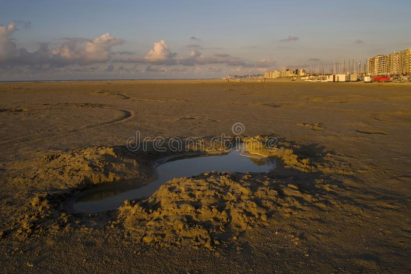 Beach in Knokke, Belgium. View to the beach in Knokke, Belgium royalty free stock photos