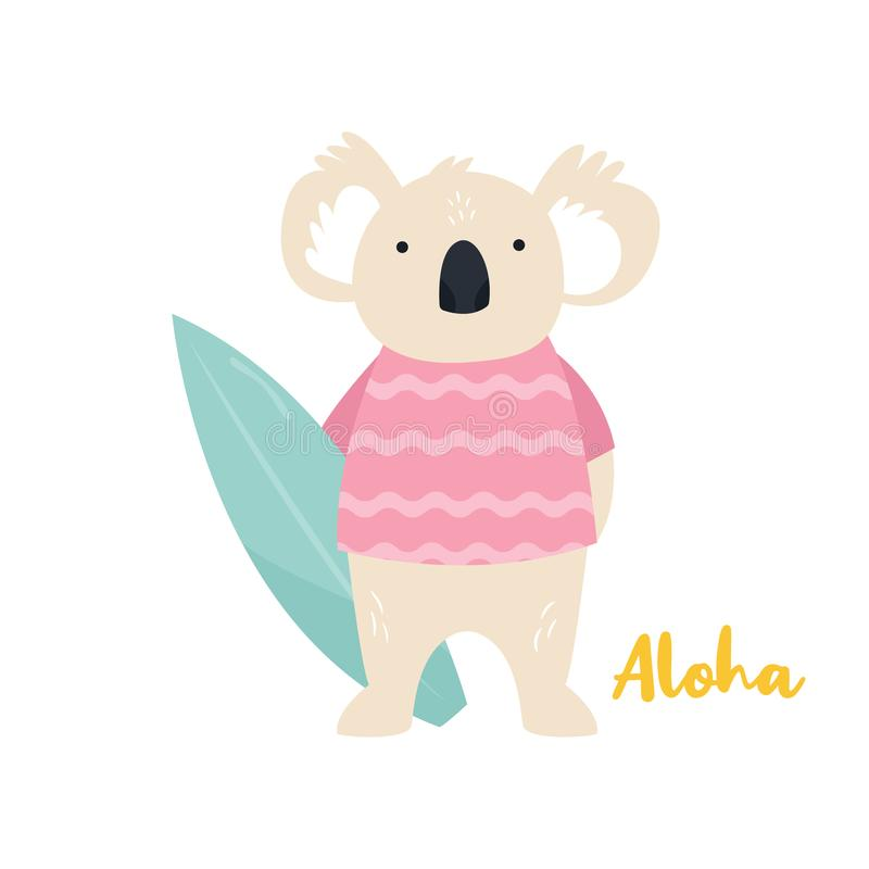 Beach koala illustration. Surfer animal concept stock illustration