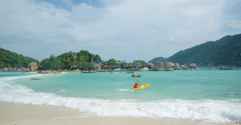 The beach of Koh Tao Island of Thailand. Shot at the Koh Tao of Thailand, when the strong wind is rising stock image