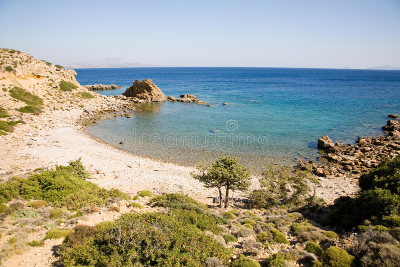 Beach, Kos,Greece. A beautiful beach in a hidden bay on the island of Kos in Greece royalty free stock image