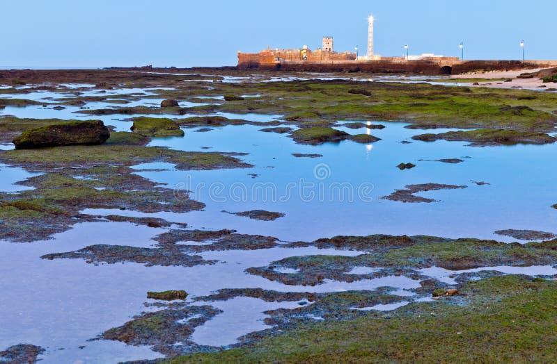 Beach of La Caleta of Cadiz stock photos