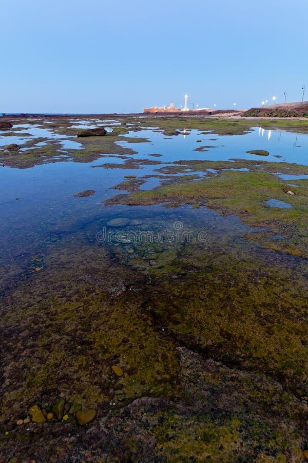 Beach of La Caleta of Cadiz royalty free stock photos