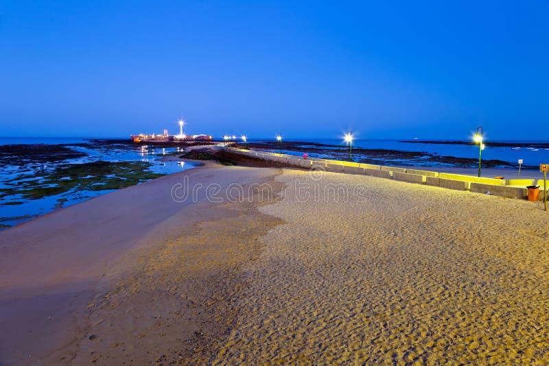 Beach of La Caleta of Cadiz stock images