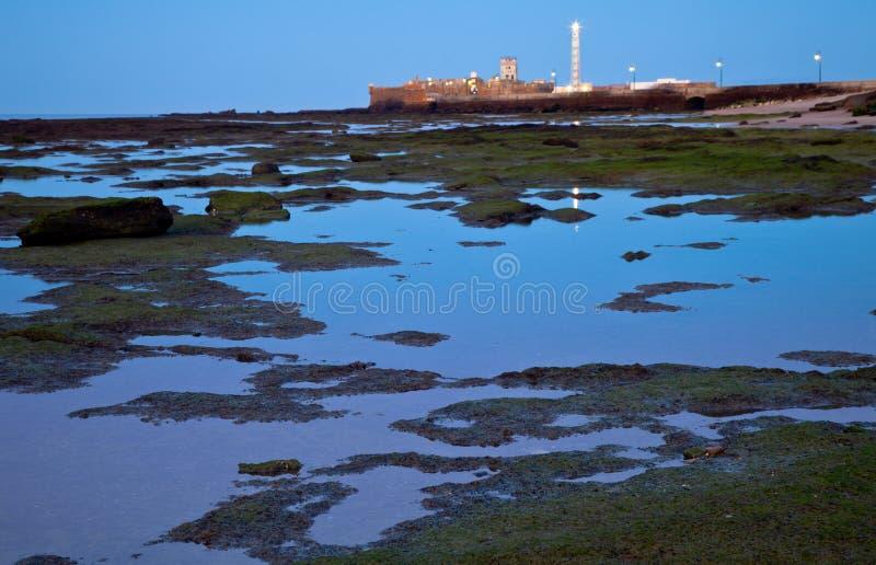 Beach of La Caleta of Cadiz royalty free stock image