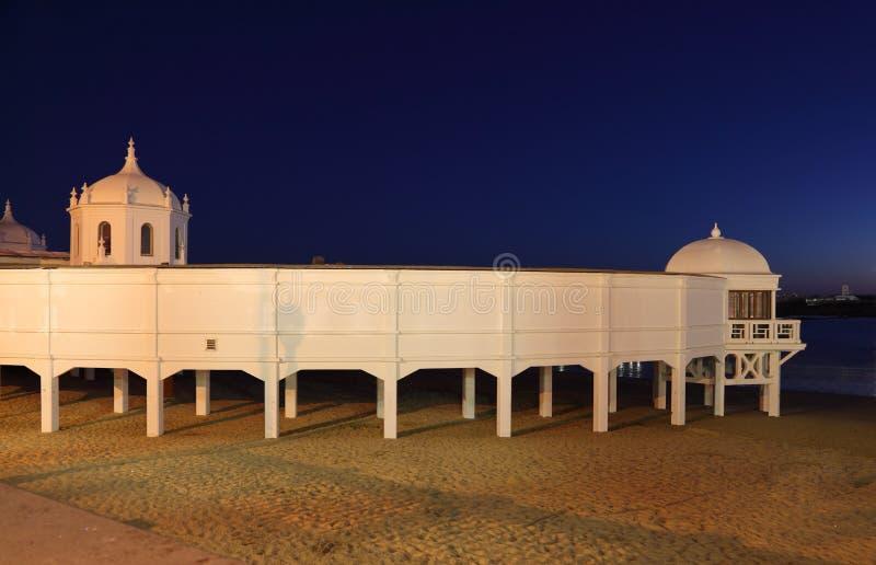 Beach La Caleta in Cadiz, Spain stock photography