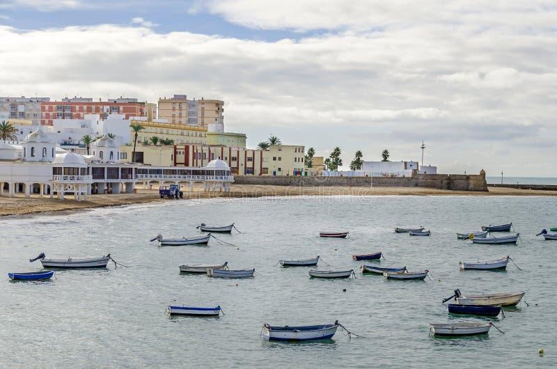 Beach La Caleta in Cadiz, Spain royalty free stock photography