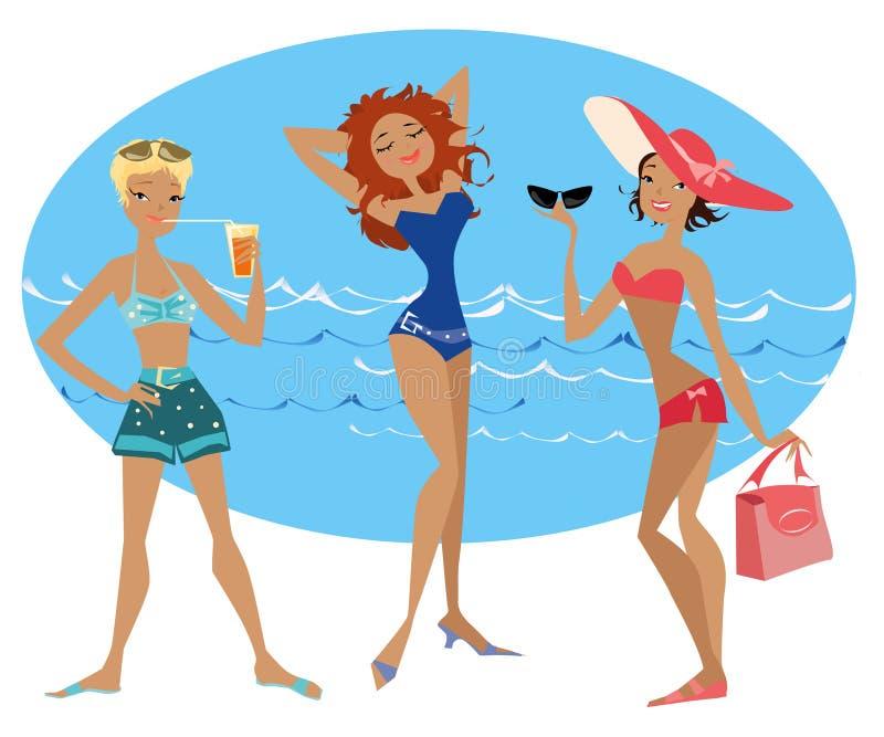 Beach ladies1 royalty free illustration