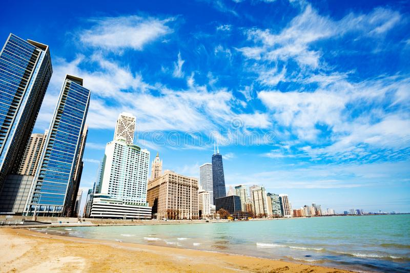 Beach on lake of Michigan in Chicago downtown stock photos