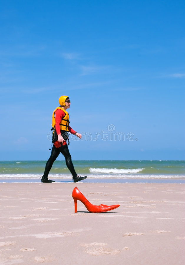 Beach landing for a fashion man royalty free stock photo