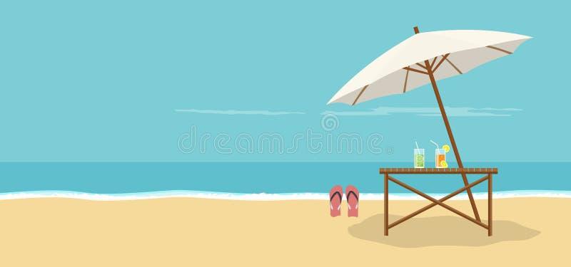 Beach landscape background with an umbrella, sandals and caipirinha vector illustration