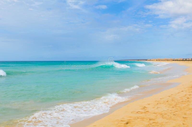 Boa Vista island, Cape Verde, Africa. Beach landscape on the Boa Vista island, Cape Verde, Africa royalty free stock images